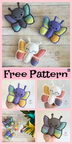 Easy Crochet Amigurumi Butterfly - Free Patterns #freecrochetpattern #amigurumi #butterfly