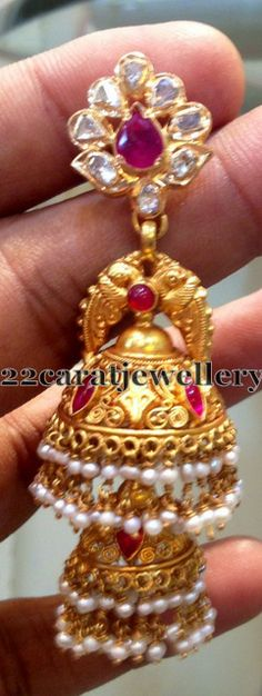 Jewellery Designs: Double Step Latest Jhumka
