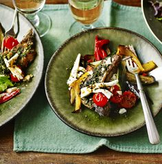 Bring the flavours of the Mediterranean to your plate with this mouthwatering meal of lamb chops, fresh herbs, roasted veg and crumbly feta