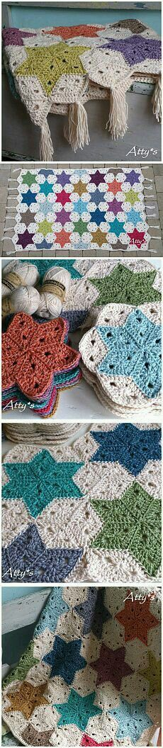 Transcendent Crochet a Solid Granny Square Ideas. Inconceivable Crochet a Solid Granny Square Ideas. Crochet Stars, Crochet Quilt, Love Crochet, Crochet Blanket Patterns, Crochet Motif, Diy Crochet, Crochet Crafts, Crochet Stitches, Crochet Hooks