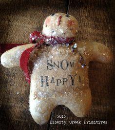 Primitive Snowman Ornie by Liberty Creek Primitives Snow Happy   eBay