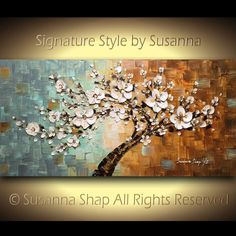 ORIGINAL Large Abstract Oil Landscape Painting White Flower Cherry Blossom Tree Palette Knife Mixed Media Textured Art Wall Decor by Susanna