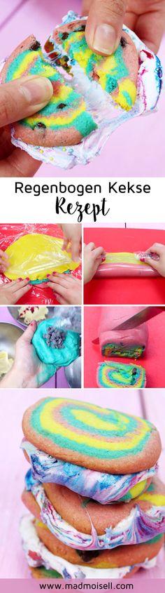 Regenbogen Kekse backen mit Marshmallow Füllung: Einfaches Rezept für S'Mores