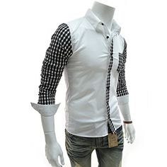 (EVS29-WHITE) Slim Fit Stretchy Long Sleeve Check Patched Shirts