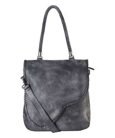 Gray Whipstitch Leather Messenger Bag