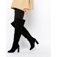 Faith Navaro Black Suede Gold Detail Heeled Over The Knee Boots ($125) ❤ liked on Polyvore featuring shoes, boots, black, black thigh-high boots, suede thigh high boots, thigh high heel boots, over-knee boots and black boots