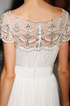 Marchesa, Fall 2013....another beautiful back of a dress. I love the combo of lace and beading.