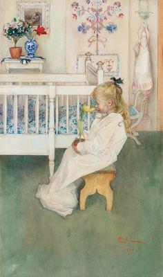 Carl Larsson - Lisbeth med gul tulpan (Lisbeth with a gold tulip), 1894
