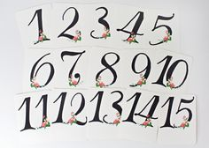 Pack de imprimibles para bodas con números de mesa y señales >> Handdrawn Wedding Printables