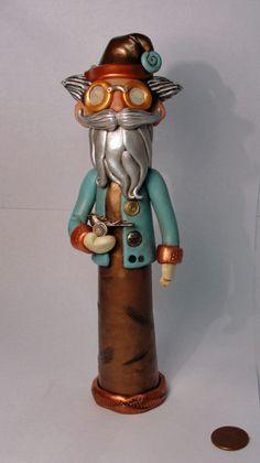 Steampunk Santa patina blue with bird in hand by JanellBerryman, $265.00