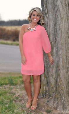 """""""Everything is Peachy"""" One Shoulder Dress, $34.50 http://www.shopadorabelles.com/collections/dresses/products/everything-is-peachy-one-shoulder-dress"""