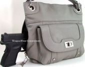 Concealment Purse GRAY Leather Locking Concealed Carry Holster Gun Purse