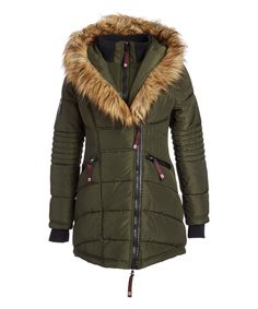 Take a look at this Olive Faux Fur-Accent Asymmetrical-Zip Puffer Coat today!