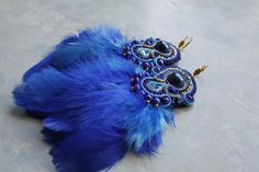 blue soutache earrings with feather