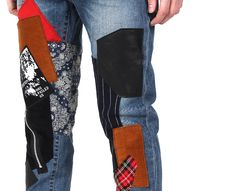 """monument_P 1st Ikoes Denim (order-made) 367,000KRW 1st Denim with patchworking by Ikoes 1st collection """"Do It Yourself""""."""