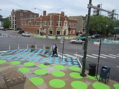 """The view of Chicago's Lincoln/Wellington/Southport intersection as part of the """"Lincoln Hub"""" traffic calming and placemaking project, as seen from St. Alphonsus Church. (John Greenfield)"""