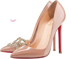 Christian Louboutin Spring 2012 Collection:  Sex with gold strass nude patent pump