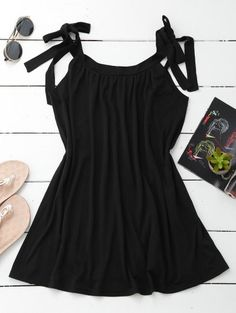 SHARE & Get it FREE | Casual Tied Straps Mini Dress - BlackFor Fashion Lovers only:80,000+ Items • New Arrivals Daily Join Zaful: Get YOUR $50 NOW!
