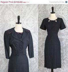 Beautiful 1950s Navy Blue Raw Silk Wiggle Dress with Matching Jacket $88
