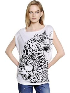 STELLA MCCARTNEY - T-SHIRT IN JERSEY DI MISTO COTONE STAMPA FLOCCATA - LUISAVIAROMA - LUXURY SHOPPING WORLDWIDE SHIPPING - FLORENCE