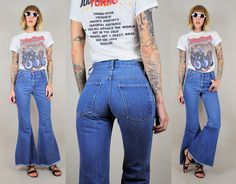 HIGH WAIST 70's Tight flared Blue denim Bell by NOIROHIOVINTAGE, $98.00