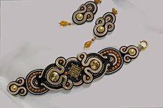 Soutache ensemble, bracelet, soutache, boucles d'oreilles, noir, marron, bijouterie, bijoux soutache, livraison gratuite