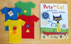 Are your children or students big fans of Pete the Cat books like we are? If so, you'll love this math game for kids based on the book, Pete the Cat and His Four Groovy Buttons! Preschool Books, Preschool Math, Book Activities, Number Activities, Sequencing Activities, Classroom Fun, Kindergarten Classroom, Pete The Cat Buttons, Pete The Cats
