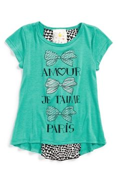 Free shipping and returns on Jenna & Jessie 'Amour' Tee (Toddler Girls, Little Girls & Big Girls) at Nordstrom.com. A sparkly graphic tee with a gauzy, heart-patterned back panel shows off her affection for the City of Lights.