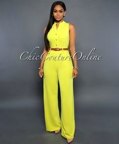 Crystal Lime Yellow Button Front Belted Jumpsuit