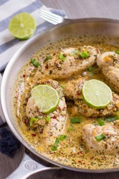 This Keto coconut lime chicken only takes half an hour and it all comes together in only one pan. It has a light coconut flavor and the sauce is really good Lime Chicken Recipes, Coconut Lime Chicken, Garlic Recipes, Chicken Thigh Recipes, Clean Eating Recipes For Dinner, Best Dinner Recipes, Paleo Dinner, Whole30 Salmon Recipes, Slow Cooker Pork Roast