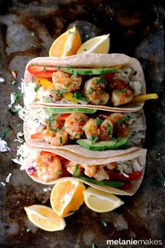 Flour tortillas topped with the crunch of fresh vegetables and delicious sauteed shrimp. These Rosemary Citrus Shrimp Tacos are not only the most flavorful tacos you've ever made, but the only ones have taken just 15 minutes to prepare. Fast Easy Dinner, Fast Dinner Recipes, Healthy Soup Recipes, Fish Recipes, Seafood Recipes, Mexican Food Recipes, Cooking Recipes, Healthy Meals, Korean Recipes