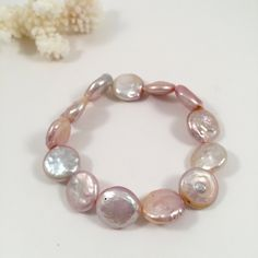 Pink Coin Freshwater Pearl Bracelet, Natural Color Freshwater Pearl Bracelet, Wedding jewelry, Bridal Pearl Bracelet, Bridesmaid Bracelet by JiaojiaosPearls on Etsy