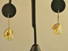Dangling Yellow Shell Summer, Beach, Sundress Earrings