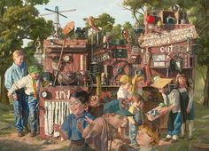 """Bob Byerley (b. 1941) works with oil paints and is the """"Painter of American Childhood."""" In his hyperrealistic, detailed artworks he focuses on portraying children in nostalgic settings that evoke simpler times. In his works, he depicts creative children that work together to build structures where they play and use their imaginations."""