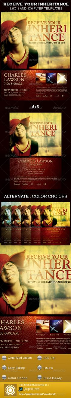 The Receive Your Inheritance Church Flyer Template is sold exclusively on graphicriver, it can be used for your Church Events, Gospel Concert etc, or for any other marketing projects. The file includes 2 High Resolution Flyers with several color options for easy editing. $6.00