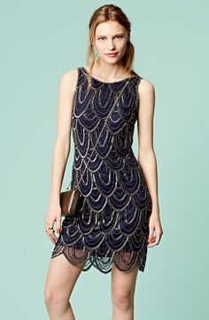I am LOVING this embellished mesh cocktail dress!