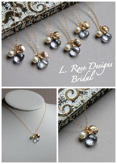 Hidden Mickey bridesmaid necklaces - cute!
