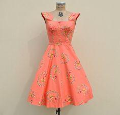 Vintage 1950s Coral Hawaiian Lovers Day Dress by badbabyvintage