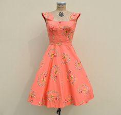 Vintage 1950s Coral Hawaiian Lovers Day Dress by badbabyvintage