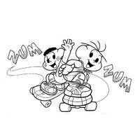 Desenho De Cebolinha E Cascao Andando De Skate Para Colorir Com