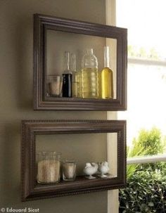 shelves in a kitchen: