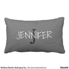 Modern Rustic dark gray burlap monogram NAME Lumbar Pillow