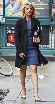 She's not blue: Dianna Agron looked lovely in a mini dress and cream heels as she headed t...