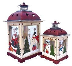 Christmas DIY: Hand painted Holiday Hand painted Holiday Candle Holder Lanterns. Happy Snowmen Snow-laden Fir Trees and Tumbling Snowflakes portrayed in these Handmade Keepsakes. Hand-made from Glass Wood & Tin. Vintage look Christmas Decor. #christmasdiy #christmas #diy