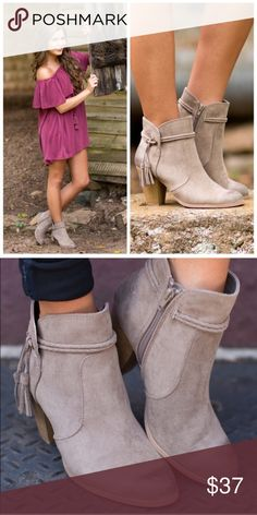 "Boho Taupe Braid Tassel Booties All Sizes 5.5 - 10 Beautiful for Fall!  Boho taupe braid tassel booties, inside zipper, 3.5"" heel, available in all sizes 5.5, 6, 6.5, 7, 7.5, 8, 8.5, 9, or 10. ARRIVING WEDNESDAY/SHIPPING THURSDAY! No Trades, Price Firm unless Bundled.  BUNDLE 3 OR MORE ITEMS FOR 15 % OFF. Boutique Shoes Ankle Boots & Booties"