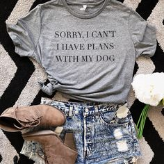 a063ae5a Sorry I Can't I Have Plans With My Dog, Cute Dog Shirts For Women, Gift For  Dog Mom, Funny Dog Shirt, Dog Mothers Day Shirt, Rescue Dog Mom