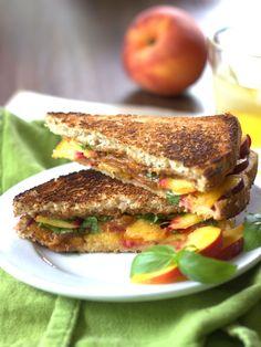 Grilled Peach Sandwich with Basil & Thai Peanut Sauce