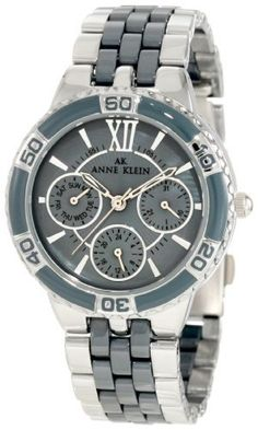 Anne Klein Women's 10/9699GMGY Silver-Tone Grey Ceramic Bracelet Multi-Function Watch Anne Klein. $185.00. Grey mother-of-pearl dial with 3 silver-tone subdials featuring day date and 24 hour functions. Silver-tone case with grey enamel bezel. Water-resistant up to 100ft.. Silver-tone roman numeral xii and stick markers at all other hour indexes. Silver-tone link bracelet with grey ceramic center links