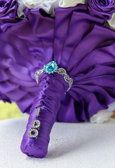 Wedding Brooch Bouquet. Royal purple with teal by annasinclair