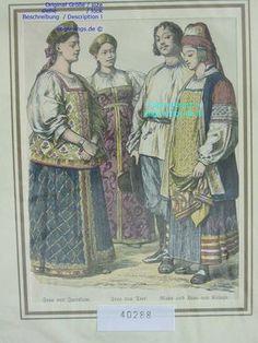 Ок 1885-Russland-Russia-JAROSLAW-TVER-KALUGA-Trachten-Hand Koloriert-hand colored | eBay